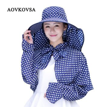 AOVKOVSA New Cotton Dot Big Eaves summer hats for women Foldable Covered Face Neck Cycling Anti Uv Sun Hat Drop Shipping
