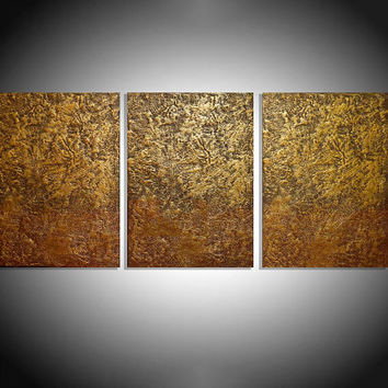 "LARGE WALL ART triptych 3 panel wall contemporary art ""Gold Triptych"" canvas original painting abstract canvas pop wall kunst 48 x 20"""