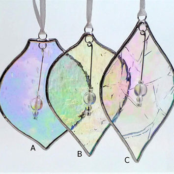 Chic and sophisticated Christmas tree decoration, Rainbow iridescent ornament for an ice frost wonderland wedding theme in a pastel palette
