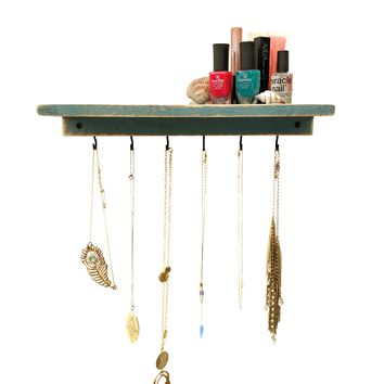 Reclaimed Wood Floating Shelf + Necklace Holder - Beach House