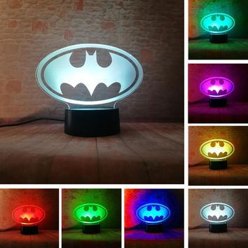 Batman Dark Knight gift Christmas Amroe 2018 3D LED Marvel Batman Symbol 7 Color Dimming Gradient Light Night Child Kids Desk Table Lamp Birthday Xmas Toys Gifts AT_71_6