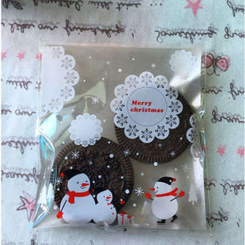 25pcs/Lot Christmas Gifts Bag Silver Lace Snowflake Snowman Treat Bags