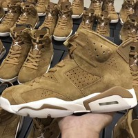 Authentic Air Jordan Retro 6 Golden Harvest Basketball Shoes All Wheat Suede Sneakers for men Running shoes size 7-13
