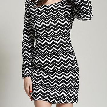 Women's Chevron Shift Mini Dress - Long Sleeved