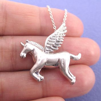 Mythical Unicorn with Wings Pegasus Shaped Pendant Necklace in Silver or Gold