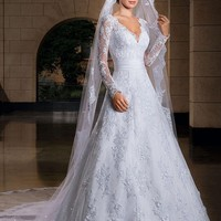 Long Sleeve Lace Wedding Dresses Wedding Custom-Made Bridal Gown Vestido de noiva  with veil