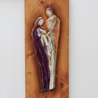 AS-IS .-Handcrafted Pottery Nativity Set  .   Pottery ceramic family set.  Ceramic tile on a stained wood by Elena Madureri