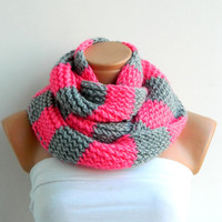 candy pink infinity scarf.Hand Knit Striped Gray and Pink Hand knitt infinity scarf Block Infinity Scarf. Loop Scarf, Circle Scarf,