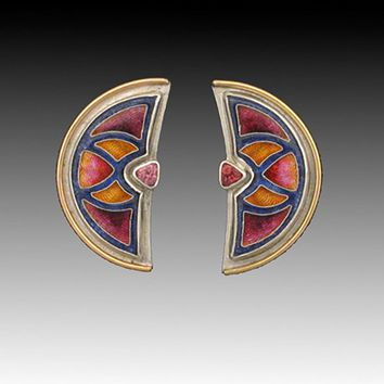 Bouclier Cloisonne Enamel Earrings