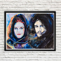 Game of Thrones, Jon Snow, Ygritte -  watercolor  painting print,  Celebrity Portraits, Air Force blue, Black, Cobalt