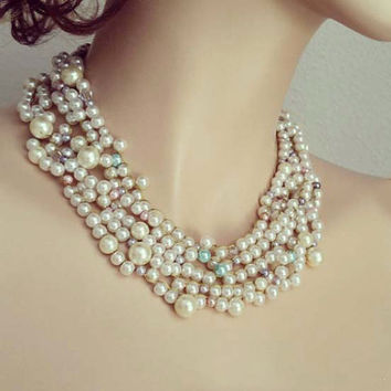 Chunky Pearl Statement Necklace, Bridal Pearl Jewelry Sets | LaLaMooD