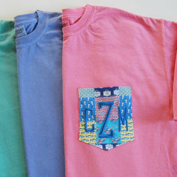 NEW Monogrammed Vineyard Vines Fabric Pocket T Shirt