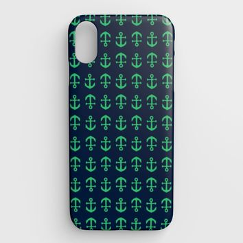 Anchor Toss Cell Phone Case iPhone XS Max - Green on Navy