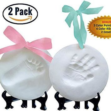 Laura Baby Premium Ornament Keepsake Kit, Baby Handprint kit And Footprint Kit -2 Ornaments In Non-Toxic Clay, And Comes With 2 Easels, 4 Ribbons Plus Bonus Personalization kit. Best Baby Shower Gift