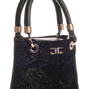 Marquesa-Crushed Velvet and Leather Evening Bag