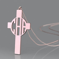 Rose gold monogram necklace-1 inch personalized monogram necklace jewelry for mother