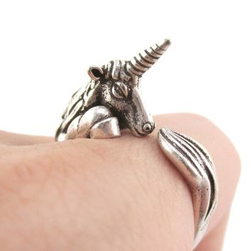 Detailed Unicorn Animal Hugging Your Finger Shaped Ring in Silver | US Size 5 to 8
