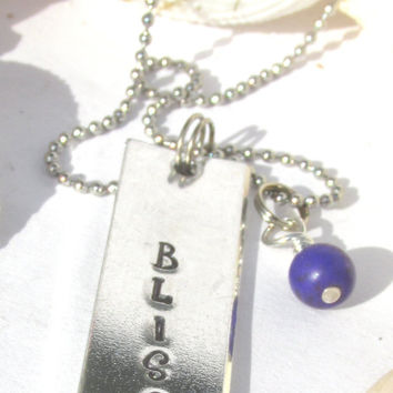 Bliss Hand Stamped Silver Toned Aluminum Necklace (4613B)