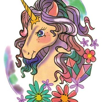 LC-504 21*15cm HD Women Large Tatoo Sticker Cartoon Unicorn Horse Women's Design Cool Temporary Tattoo Stickers Taty