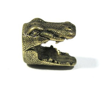 Crocodile Ring Size 7.5 Gold Tone Alligator Gator Florida RF23 Taxidermy Head Fashion Jewelry