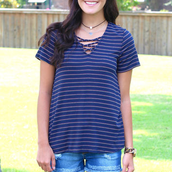 Tied In Short Sleeve Striped Top {Navy Mix}