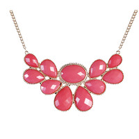 Pink Necklaces Statement Necklace Outfits Resin Flower Jewelry