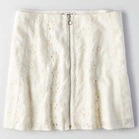 AEO Zip Eyelet Skirt , White