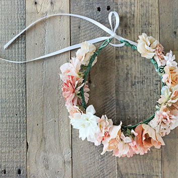 Baby Flower Crown, Boho Flower Crown, Wedding Crown, Flower Girl Crown, Birthday Crown, Blush Peach Cream Children & Adult  Flower Crown