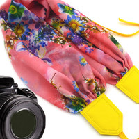 Pink / yellow scarf camera strap with colorful flowers pattern. DSLR / SLR Camera Strap. Camera strap for Canon, Nikon, Fuji & other cameras
