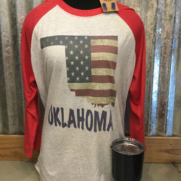 Red 3/4 length Sleeve Vintage Oklahoma Flag T-Shirt