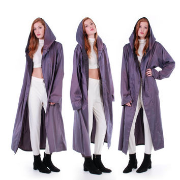 80s Vintage Purple Iridescent Coat Long Hooded Trapeze Tent Raincoat Metallic Shiny Minimalist Futuristic Winter Clothing Womens Size XL 2X