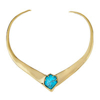 Alexis Bittar Golden Liquid Collar Station Necklace