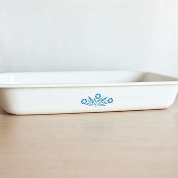 Extra Large Corning Ware Cornflower Blue Rectangular Baking Dish with Handles, Large Casserole Roaster, P-76