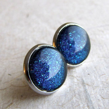 Midnight Dark Blue Earrings - Milky Way Silver Post Earrings