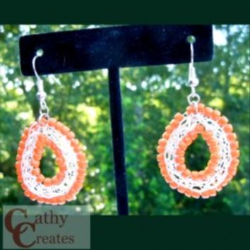 Wire Weave Earrings with Orange Glass Beads