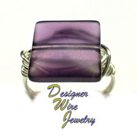 DWJ0310 Lovely Plum Frost Sea Glass Silver Wire Wrap Ring All Sizes