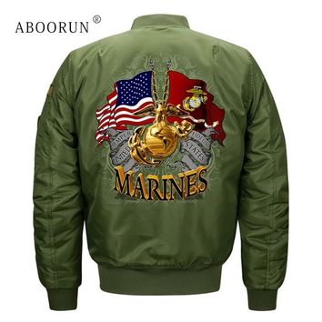 Trendy ABOORUN Plus Size 8XL Mens Fashion Bomber Jackets US Flag Air Force Pilot Jackets Autumn Windbreaker Coat for Male x1169 AT_94_13