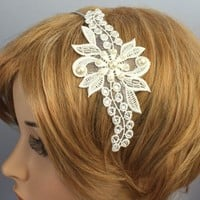 Bridal Headband Swarovski Crystal Pearl Lace by WearableArtz