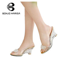 Big Size 34-43 Women Sandals Sexy Rhinestone High Heel Cutout Wedges Transparent Upper Summer Shoes Open Toe Platform Sandals