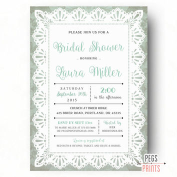 Mint Green Bridal Shower Invitation (Printable) Lace Bridal Shower Invitations - Burlap and Lace Bridal Shower Invitation - Lace Wedding