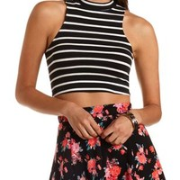 Striped Mock Neck Crop Top by Charlotte Russe