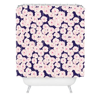 Joy Laforme Floral Sophistication In Navy Shower Curtain