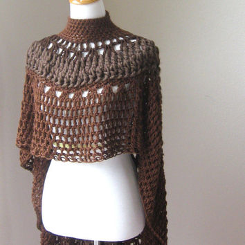 CROCHET PONCHO SHAWL Brown Fashion Boho Circle Vest Original Ooak Handmade Capelet Turtleneck Rustic