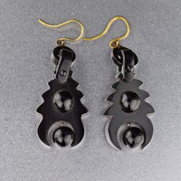 VIctorian Antique Whitby Jet Earrings Civil War Era