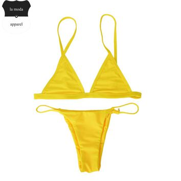 Free Yellow Sexy Thong Bikini Set 2017 maillot de bain femme Women String Bikinis Tankini Biquini Bathing Suit Swimwear (No Pad)