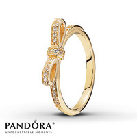 PANDORA Ring Sparkling Bow 14K Yellow Gold