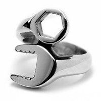 Oliveti Stainless Steel Men's Black-plated Combination Wrench Ring | Overstock.com