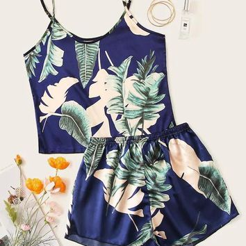 Plus Tropical Cami Satin Pajama Set