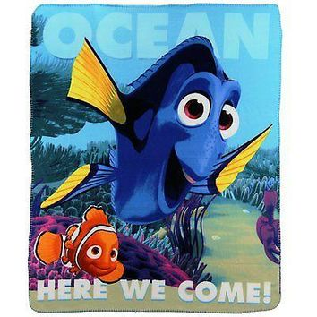 "Finding Dory Nemo Large Lightweight 50""x60"" Fleece Throw Blanket Disney"