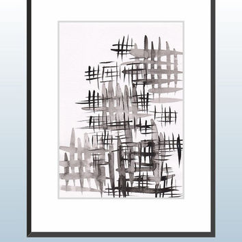 Modern black and white brush strokes painting. Original wall art. Loose and sloppy crosshatch pattern.